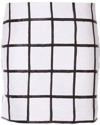 White and Black Check Mini Skirt