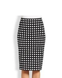 White and Black Check Pencil Skirt