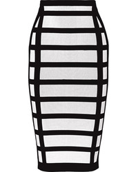 Balmain Checked Stretch Knit Pencil Skirt