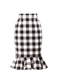 Dolce & Gabbana Gingham Ruffle Hem Skirt