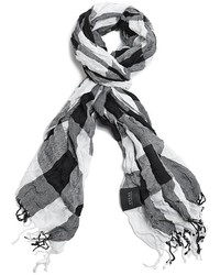 White and Black Check Scarf