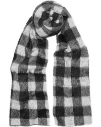 Balenciaga Checked Brushed Knitted Scarf Black