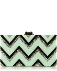 Edie Parker Jean Chevron Glittered Acrylic Box Clutch