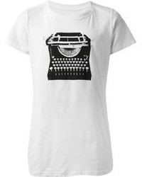 White and Black Crew-neck T-shirt