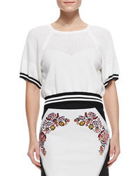 White and Black Cropped Sweater