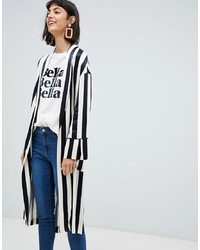 Mango Longline Duster Jacket In Mono Stripe