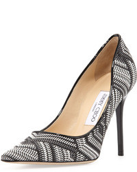 Jimmy Choo Abel Woven Point Toe Pump Blackwhite