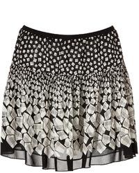 White and Black Geometric Mini Skirt