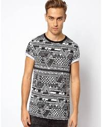 T shirt with all over monochrome print with rolled sleeves black medium 6498