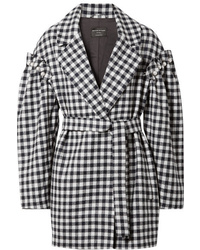 Mother of Pearl Emmett Faux Pearl Embellished Gingham Wool Jacket