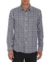 White and Black Gingham Long Sleeve Shirt