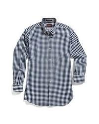 Hickey Freeman Gingham Shirt Navy White 14