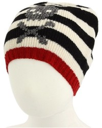 White and Black Horizontal Striped Beanie
