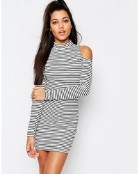 Cold shoulder stripe bodycon mini dress medium 1327541
