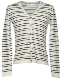 White and Black Horizontal Striped Cardigan