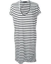 White and Black Horizontal Striped Casual Dress