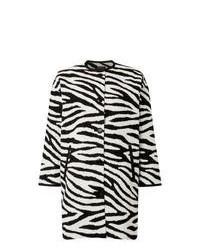 White and Black Horizontal Striped Coat