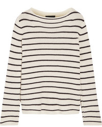 Stretton striped cashmere and silk blend sweater off white medium 1159137