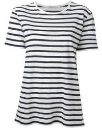 White and Black Horizontal Striped Crew-neck T-shirt