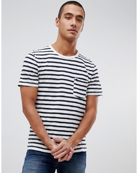 Abercrombie & Fitch Breton Stripe Icon Logo T Shirt In Whitenavy Stripenavy Stripe