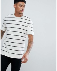 Asos Knitted Textured Stripe T Shirt In White