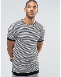 Asos Longline Muscle T Shirt In Stripe Rib