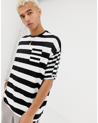 ASOS DESIGN Oversized Striped T Shirt With Contrast Stripe Chest Pocket