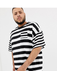 ASOS DESIGN Plus Oversized Striped T Shirt With Contrast Stripe Chest Pocket