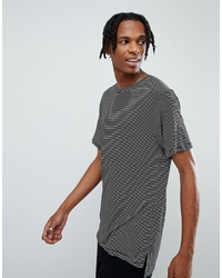 Mennace Striped T Shirt With Stepped Hem