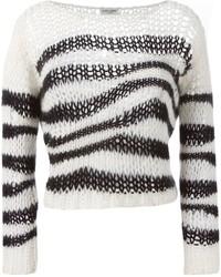 Striped open knit sweater medium 341146