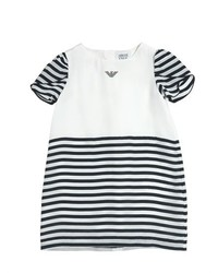 White and Black Horizontal Striped Dress