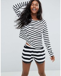 Asos Black White Stripe Long Sleeve Long Sleeve Tee Short Pajama Set