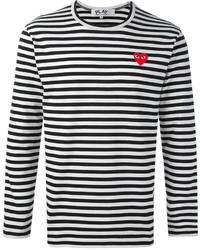 Comme des garons play embroidered heart striped t shirt medium 454075