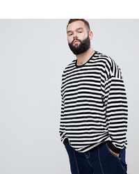 ASOS DESIGN Plus Oversized Striped Long Sleeve T Shirt In Velour