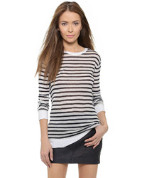 T by striped rayon linen tee medium 684663