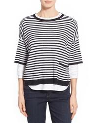 Stripe organic linen round neck boxy sweater medium 386302