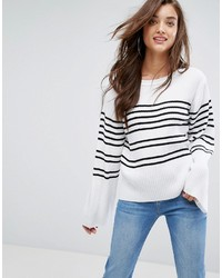 Stripe wide sleeve sweater medium 6746425