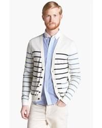 White and Black Horizontal Striped Shawl Cardigan
