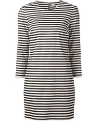 White and Black Horizontal Striped Shift Dress