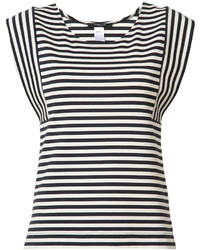 White and Black Horizontal Striped Sleeveless Top