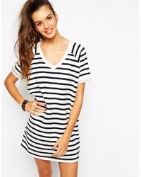 Daisy street v neck raglan sweater dress in stripe medium 158134