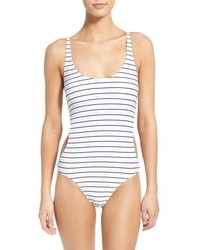 White and Black Horizontal Striped Swimsuit