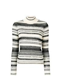108442d0dded64 White and Black Horizontal Striped Turtlenecks for Women
