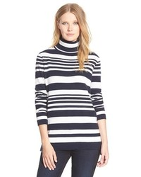 Nordstrom Collection Stripe Cashmere Turtleneck Sweater