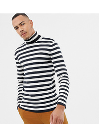 Selected Homme Roll Neck Stripe Long Sleeve Top