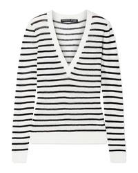 Veronica Beard Dean Striped Ribbed Sweater