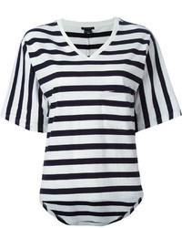 White and Black Horizontal Striped V-neck T-shirt