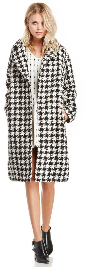 Glamorous Dogtooth Printed Wool Coat In Black White Xs M   Where ...