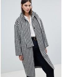 ASOS DESIGN Houndstooth Coat With Tie Neck