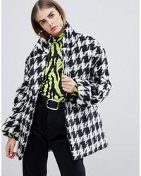 Bershka Houndstooth Oversized Coat